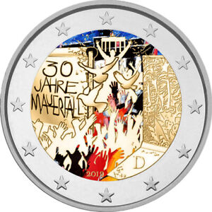 2-Euro-Gedenkmuenze-BRD-2019-Mauerfall-coloriert-Farbe-Farbmuenze-Berlin-2