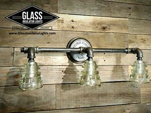 Bathroom Lighting Ebay black pipe vanity light - glass insulator light - industrial
