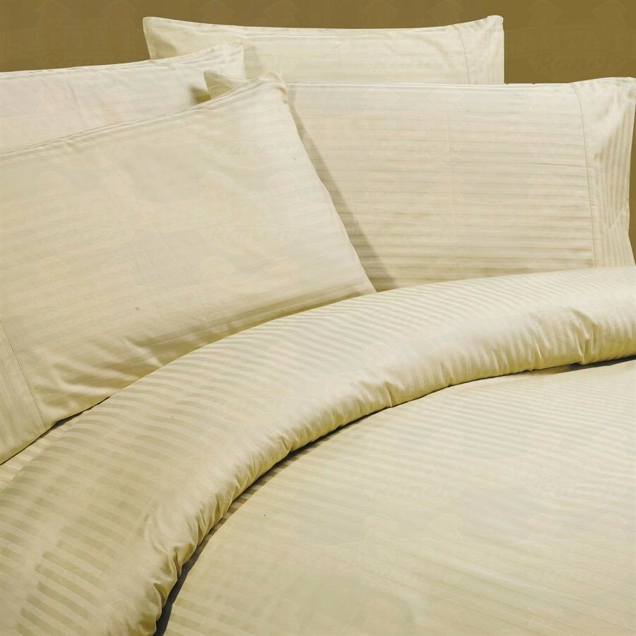 SUPER KING SIZE BEIGE STRIPE BED SHEET SET 1000 THREAD COUNT 100%EGYPTIAN COTTON