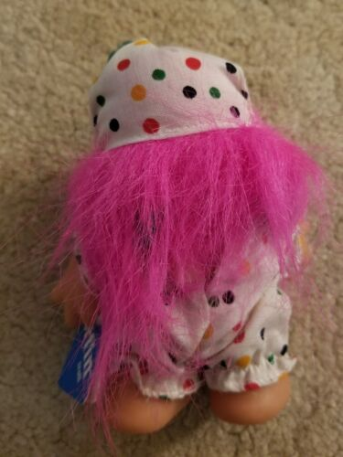 Pink Hair-Closed Smily Face Vintage Dam Adopt A Norfin Troll 5 Inch Clown-1986