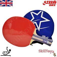 DHS Table Tennis Bat R1002 Shakehand Grip + Blue Half Case + 2 FREE Protectors!