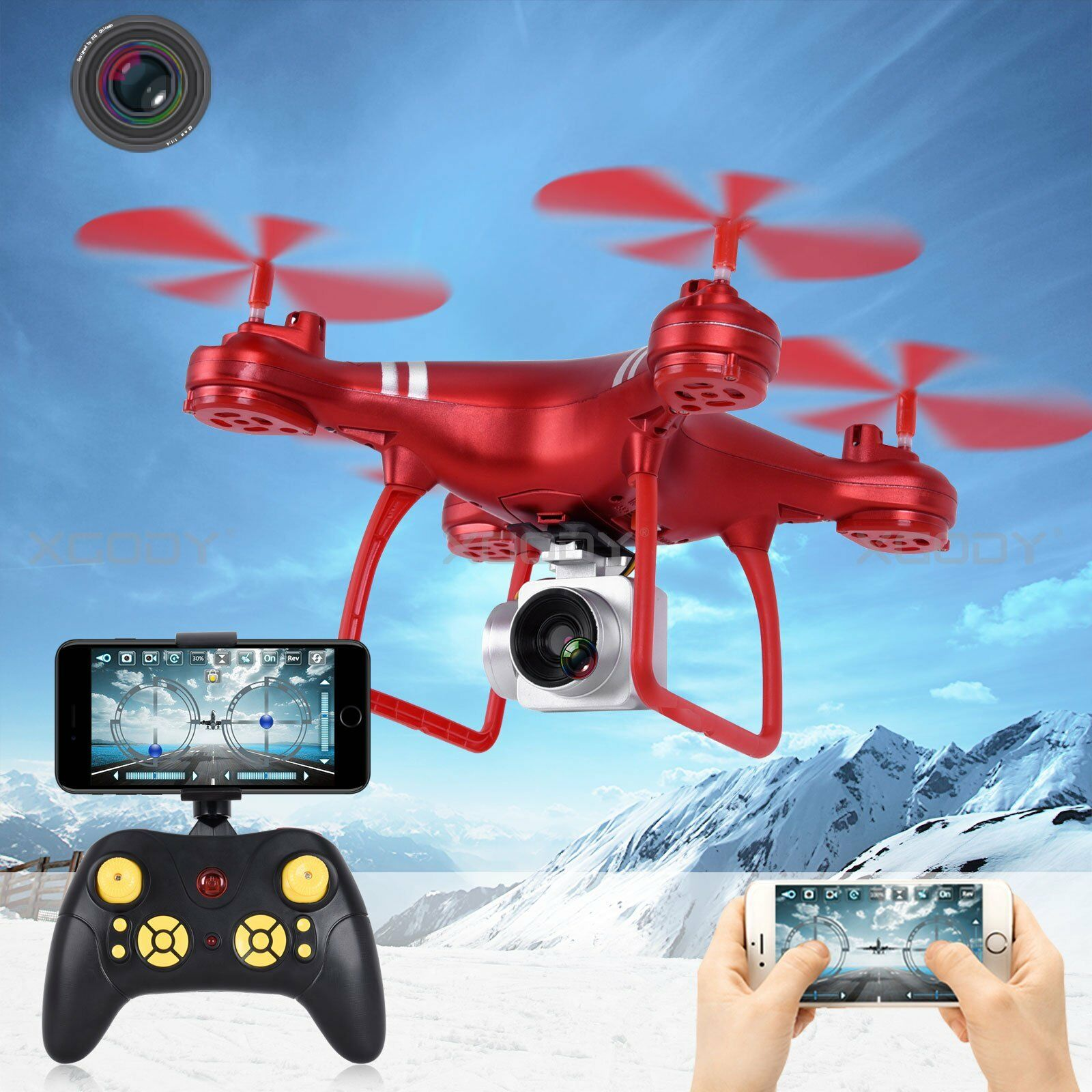 New Wide Angle Lens HD Camera Quadcopter RC Drone WiFi FPV Live Helicopter Hover