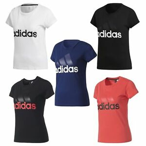 6d6f4bfdfb adidas ESSENTIALS LINEAR T SHIRT TEE WOMEN S BLACK PINK WHITE NAVY ...