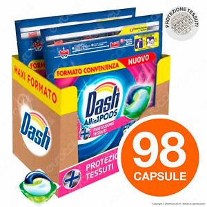 98 Pastiglie Dash All in 1 Protezione Tessuti Pods Detersivo per Lavatrice