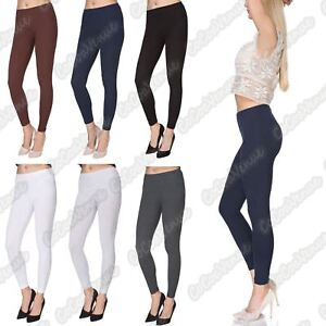 New-Ladies-Stretchy-Plain-Full-Ankle-Length-Cotton-Skinny-Summer-Leggings-Pants