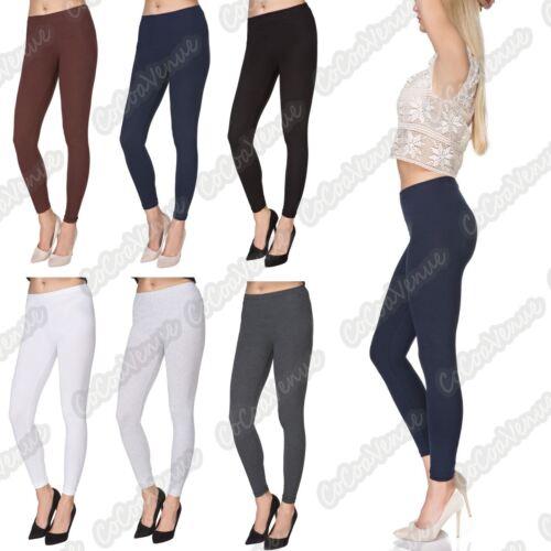 Neuf Femme Extensible Uni Complet Longueur Cheville Coton Skinny Summer Leggings Pantalon