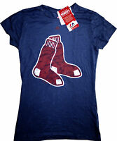 Womens Boston Red Sox Logo Navy Women's Pure Victory Burn Out Tee Shirt Xl