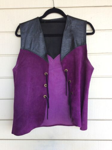 Men's Vintage 60s 70s Western Black Leather Purple