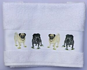 PUG-ADORABLE-DOGS-LARGE-COTTON-HAND-GUEST-TOWEL-WATERCOLOUR-PRINT-SANDRA-COEN