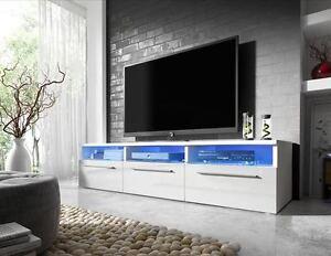 fernsehschrank tv lowboard triada in wei grau schwarz hochglanz mit led 150cm ebay. Black Bedroom Furniture Sets. Home Design Ideas