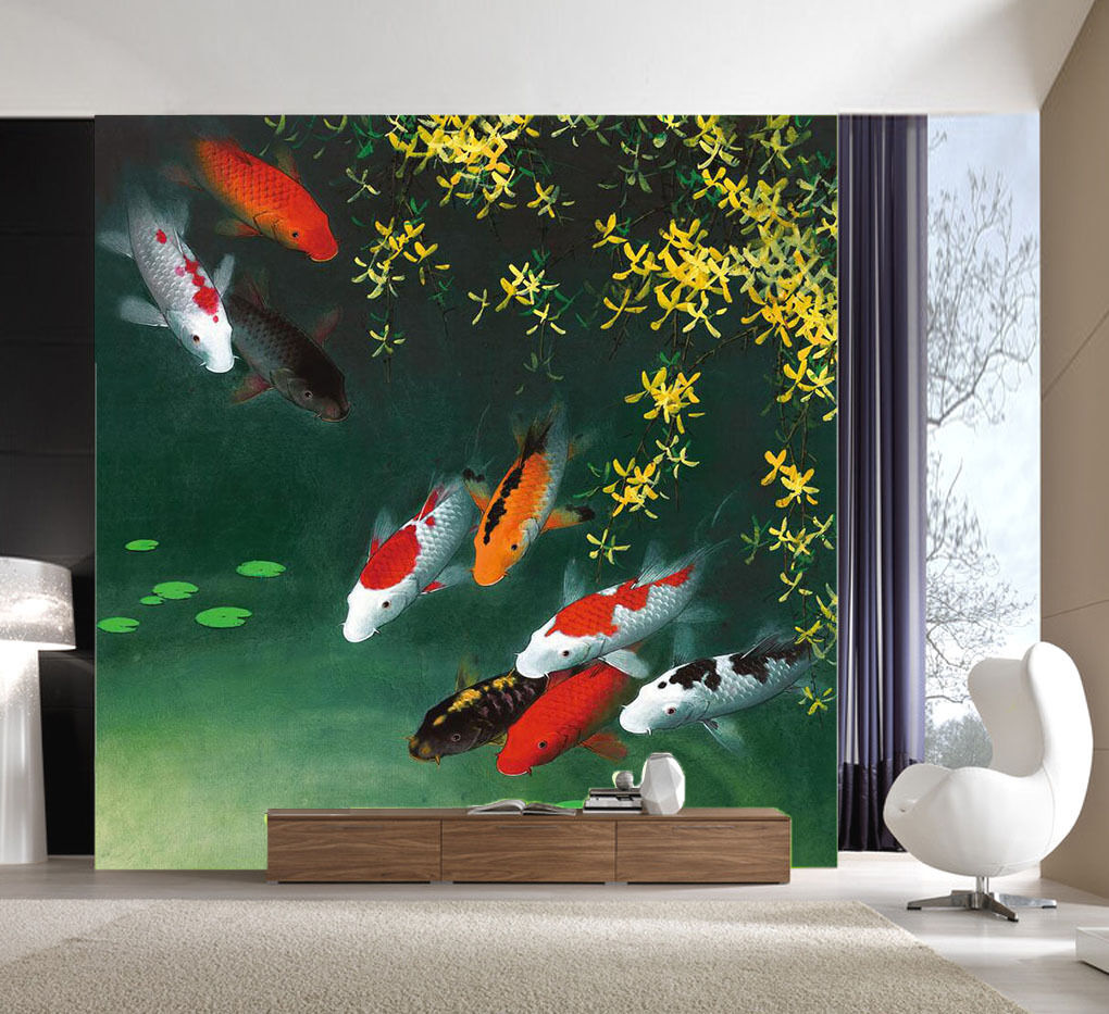 3D Lake Fishes Plants 4196 Wallpaper Decal Decor Home Kids Nursery Mural Home