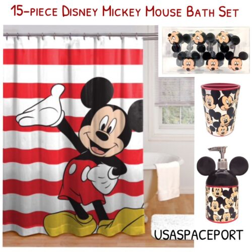15pc MICKEY MOUSE BATH SET Shower Curtain+Hooks+Soap Pump+Toothbrush Holder Lot