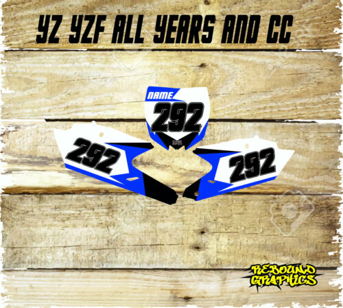 Rebound mx number board background graphics to fit Yamaha YZ YZF 85 125 250 450