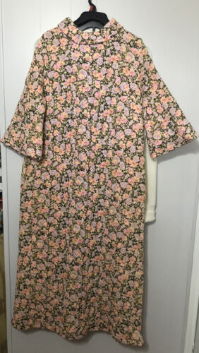 Campus Girl 1960S Vintage Housecoat Robe Gown Flor
