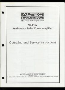 original factory altec lansing 9441a power amplifier owner s rh ebay com altec lansing service manual