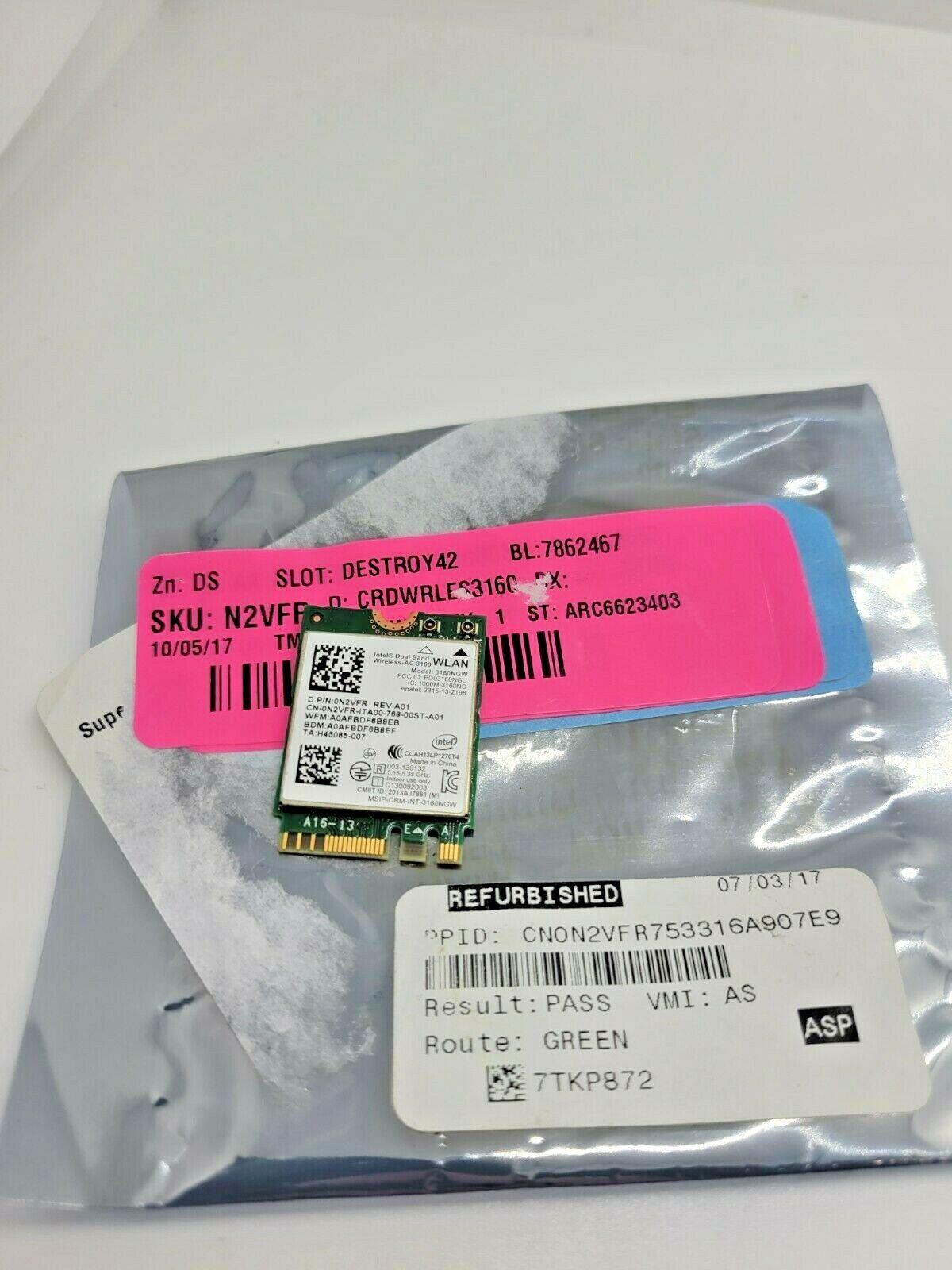 Intel Dual Band Wireless-AC 3160 3160NGW NGFF WiFi 802.11AC + Bluetooth 4.0 Card