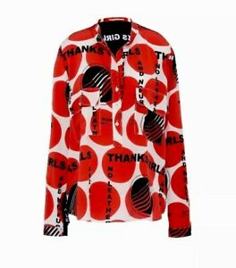 STELLA-McCartney-Estell-Thanks-Girls-Polka-Dot-Red-Black-White-100-Silk-Shirt