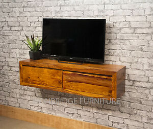 Image Is Loading Wall Mounted Solid Sheesham Wood Console Table TV