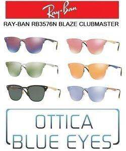95394ff3abd60 La imagen se está cargando Occhiali-da-Sole-RAYBAN-RB3576-BLAZE-CLUBMASTER -Sunglasses-
