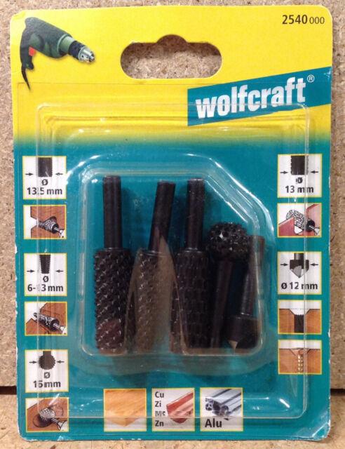 Wolfcraft 5 tlg. Profilraspel Set mit Senker 2540000