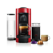 Nespresso Vertuo Plus Red Flat Top and Aeroccino3 Coffee Machine