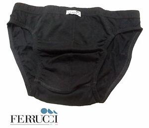 Slip uomo FERRUCCI - AGATA. Elastico interno. 100% Cotone elasticizzato. Nero