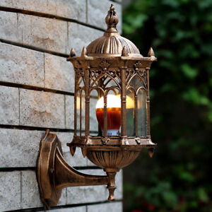 Antique Exterior Wall Light Fixture Aluminum Glass Lantern Outdoor Garden