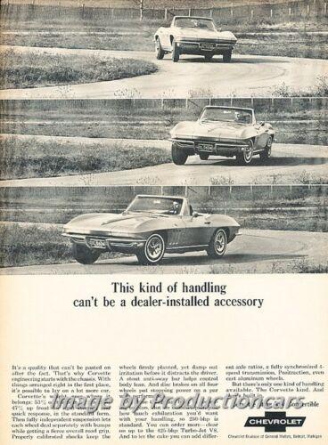 1965 Chevrolet Corvette Convertible Original Advertisement Print Art Car Ad J765