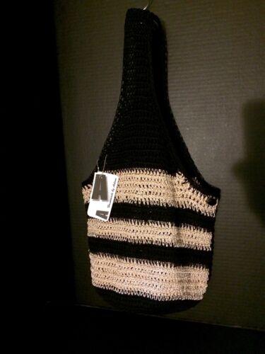 Metal Sling Crochethandmade nylon By 100 Bag tote Black Arlene Ivorywgold SIOP1q