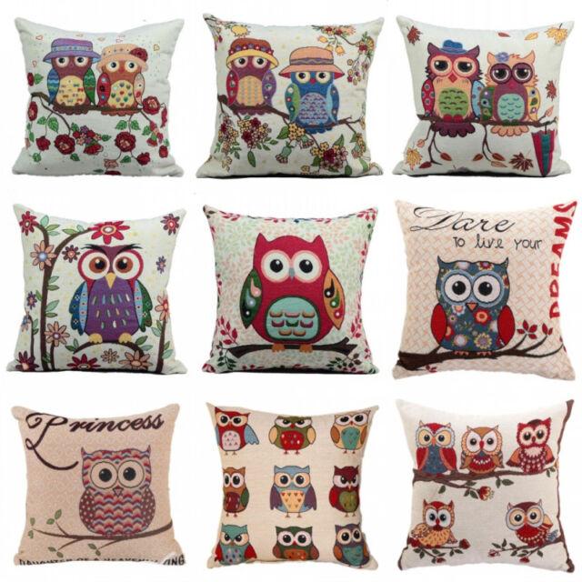 New Cotton Linen Owl Pillow Case Sofa Waist Throw Cushion Cover Home Decor 006