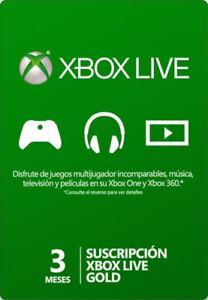 Xbox Live Gold 3 Meses Suscripción código Xbox One / Xbox 360 Tarjeta Prepago ES