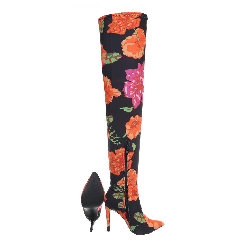 Fashion Overknee Stiefel Damen sexy Heels langschaft Stiefel 01210 Schwarz 37