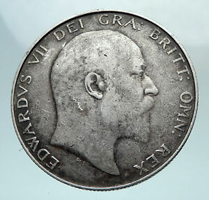 1907-UK-GREAT-BRITAIN-King-EDWARD-VII-Genuine-Silver-1-2-Crown-Coin-i81230