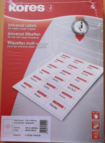 210 x 148 mm weiß KORES® Universal-Etiketten