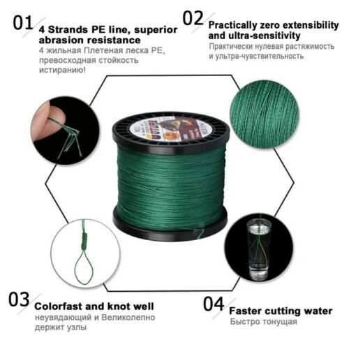 Goture 500M 1000M Braided Fishing Line 4 Strands Multifilament Line Saltwater