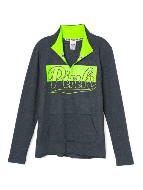 979372ab3bf43 Victoria's Secret Pink Fleece High & Low Half Zip Sweater XSmall Gray Lemon
