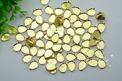 100 PCS 10mm x 14mm Tear Drop Jewels's Settings For Sewing On Golden