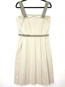 CUE Women's Size 12 Beige Khaki Sleeveless Pleated Midi Business Workwear Dress