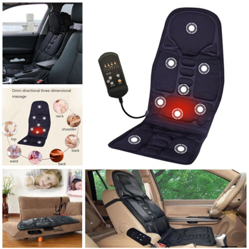 Car Massage Heated Seat Cushion Back Neck Pain Lumbar Pad Massager Vibration 12V