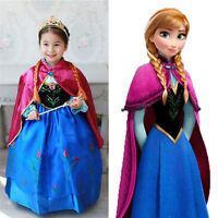 Kid Girls Frozen Princess Queen Anna Cosplay Costume Party Fancy Dress 3-8 Years