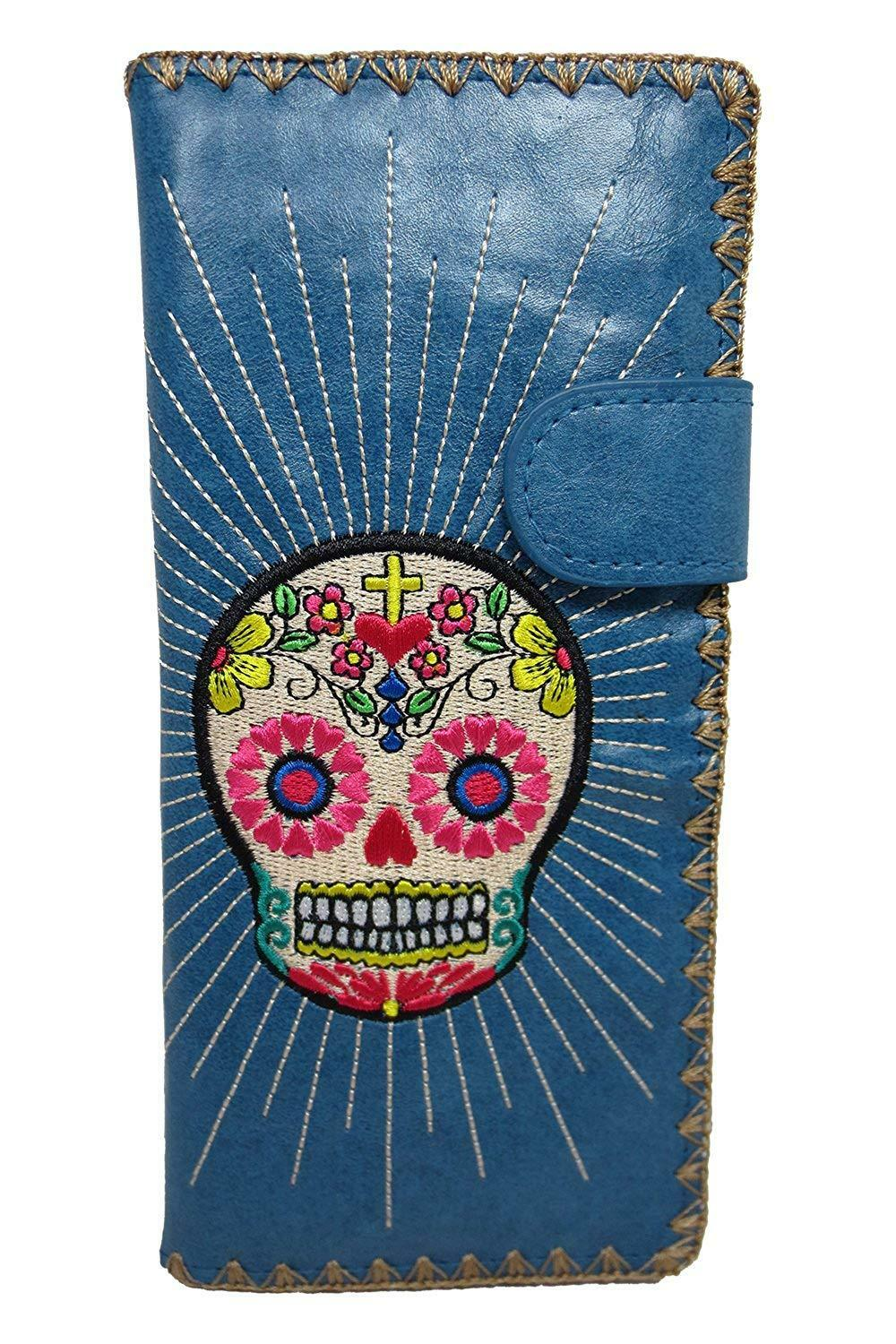Lavishy Mexican Sugar Skull Day of the Dead Embroidered Large Wallet