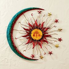 Sun Moon Stars Plaque Wall Decor Metal Art Sculpture Rust Proof Outside Hanging