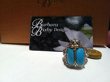 FAB BARBARA BIXBY 18K STERLING SILVER TURQUOISE SCARAB BEETLE RING SIZE 6 NWT