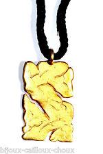GERARD PASQUIER Collier pendentif couleur or cordon noir bijou necklace