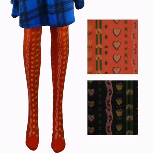 4 PAIRS OF GIRLS TULIP /& LOVE HEART DESIGN OPAQUE TIGHTS