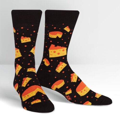 Sock It To Me Mens Novelty Crew Socks Space Cheese Black Cotton Blend New