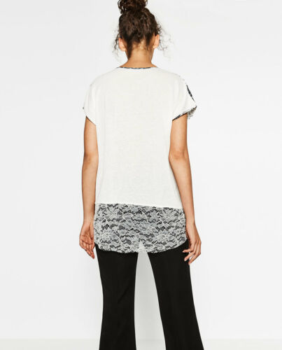 Top S M L XXL R$28 ZARA Handkerchief Print Blonde Lace TShirt Short Sleeve New