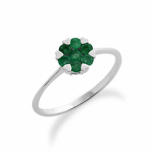 Gemondo 9ct White Gold 0.38ct Emerald Floral Cluster Ring