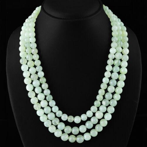 Exclusive 770.00 cts naturel 3 ligne de riches VERT AQUAMARINE perles rondes collier