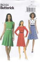 BUTTERICK SEWING PATTERN MISSES' DRESS PLEATED LINED BODICE DARTS 6 - 22 B6164